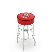 L7C1 - 4 Wisconsin Badger Cushion Seat with Double-Ring Chrome Base Swivel Bar Stool by Holland Bar Stool Company