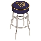 L7C1 - 4 West Virginia Cushion Seat with Double-Ring Chrome Base Swivel Bar Stool by Holland Bar Stool Company