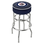L7C1 - 4 Winnipeg Jets Cushion Seat with Double-Ring Chrome Base Swivel Bar Stool by Holland Bar Stool Company