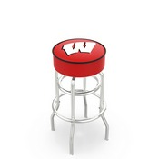 L7C1 - 4 Wisconsin W Cushion Seat with Double-Ring Chrome Base Swivel Bar Stool by Holland Bar Stool Company