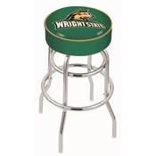 L7C1 - 4 Wright State Cushion Seat with Double-Ring Chrome Base Swivel Bar Stool by Holland Bar Stool Company