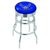L7C3C - Chrome Double Ring U.S. Air Force Swivel Bar Stool with 2.5 Ribbed Accent Ring by Holland Bar Stool Company