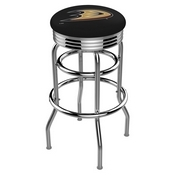 L7C3C - Chrome Double Ring Anaheim Ducks Swivel Bar Stool with 2.5 Ribbed Accent Ring by Holland Bar Stool Company