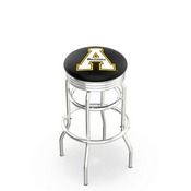 L7C3C - Chrome Double Ring Appalachian State Swivel Bar Stool with 2.5 Ribbed Accent Ring by Holland Bar Stool Company