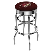 L7C3C - Chrome Double Ring Arizona Coyotes Swivel Bar Stool with 2.5 Ribbed Accent Ring by Holland Bar Stool Company