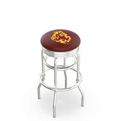 L7C3C - Chrome Double Ring Arizona State Swivel Bar Stool with 2.5 Ribbed Accent Ring and Sparky Logo by Holland Bar Stool Company