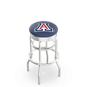 L7C3C - Chrome Double Ring Arizona Swivel Bar Stool with 2.5 Ribbed Accent Ring by Holland Bar Stool Company