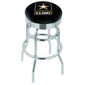 L7C3C - Chrome Double Ring U.S. Army Swivel Bar Stool with 2.5 Ribbed Accent Ring by Holland Bar Stool Company