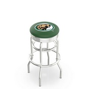 L7C3C - Chrome Double Ring Bemidji State Swivel Bar Stool with 2.5 Ribbed Accent Ring by Holland Bar Stool Company