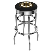 L7C3C - Chrome Double Ring Boston Bruins Swivel Bar Stool with 2.5 Ribbed Accent Ring by Holland Bar Stool Company