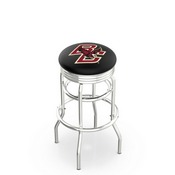 L7C3C - Chrome Double Ring Boston College Swivel Bar Stool with 2.5 Ribbed Accent Ring by Holland Bar Stool Company