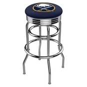 L7C3C - Chrome Double Ring Buffalo Sabres Swivel Bar Stool with 2.5 Ribbed Accent Ring by Holland Bar Stool Company