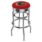 L7C3C - Chrome Double Ring Calgary Flames Swivel Bar Stool with 2.5 Ribbed Accent Ring by Holland Bar Stool Company