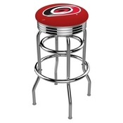 L7C3C - Chrome Double Ring Carolina Hurricanes Swivel Bar Stool with 2.5 Ribbed Accent Ring by Holland Bar Stool Company