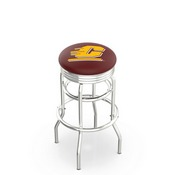 L7C3C - Chrome Double Ring Central Michigan Swivel Bar Stool with 2.5 Ribbed Accent Ring by Holland Bar Stool Company