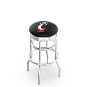 L7C3C - Chrome Double Ring Cincinnati Swivel Bar Stool with 2.5 Ribbed Accent Ring by Holland Bar Stool Company