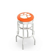L7C3C - Chrome Double Ring Clemson Swivel Bar Stool with 2.5 Ribbed Accent Ring by Holland Bar Stool Company