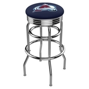 L7C3C - Chrome Double Ring Colorado Avalanche Swivel Bar Stool with 2.5 Ribbed Accent Ring by Holland Bar Stool Company