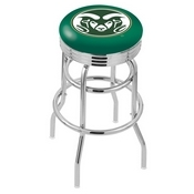 L7C3C - Chrome Double Ring Colorado State Swivel Bar Stool with 2.5 Ribbed Accent Ring by Holland Bar Stool Company