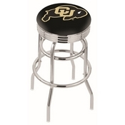 L7C3C - Chrome Double Ring Colorado Swivel Bar Stool with 2.5 Ribbed Accent Ring by Holland Bar Stool Company