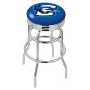L7C3C - Chrome Double Ring Creighton Swivel Bar Stool with 2.5 Ribbed Accent Ring by Holland Bar Stool Company