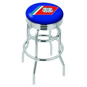 L7C3C - Chrome Double Ring U.S. Coast Guard Swivel Bar Stool with 2.5 Ribbed Accent Ring by Holland Bar Stool Company
