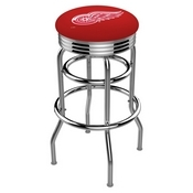 L7C3C - Chrome Double Ring Detroit Red Wings Swivel Bar Stool with 2.5 Ribbed Accent Ring by Holland Bar Stool Company