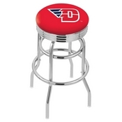 L7C3C - Chrome Double Ring University of Dayton Swivel Bar Stool with 2.5 Ribbed Accent Ring by Holland Bar Stool Company