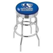 L7C3C - Chrome Double Ring Eastern Illinois Swivel Bar Stool with 2.5 Ribbed Accent Ring by Holland Bar Stool Company