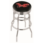 L7C3C - Chrome Double Ring Eastern Washington Swivel Bar Stool with 2.5 Ribbed Accent Ring by Holland Bar Stool Company