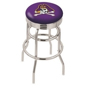 L7C3C - Chrome Double Ring East Carolina Swivel Bar Stool with 2.5 Ribbed Accent Ring by Holland Bar Stool Company