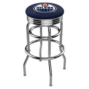 L7C3C - Chrome Double Ring Edmonton Oilers Swivel Bar Stool with 2.5 Ribbed Accent Ring by Holland Bar Stool Company