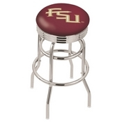 L7C3C - Chrome Double Ring Florida State (Script) Swivel Bar Stool with 2.5 Ribbed Accent Ring by Holland Bar Stool Company