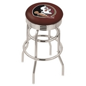 L7C3C - Chrome Double Ring Florida State (Head) Swivel Bar Stool with 2.5 Ribbed Accent Ring by Holland Bar Stool Company
