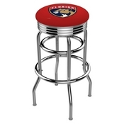 L7C3C - Chrome Double Ring Florida Panthers Swivel Bar Stool with 2.5 Ribbed Accent Ring by Holland Bar Stool Company