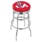 L7C3C - Chrome Double Ring Fresno State Swivel Bar Stool with 2.5 Ribbed Accent Ring by Holland Bar Stool Company