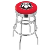 L7C3C - Chrome Double Ring Georgia Bulldog Swivel Bar Stool with 2.5 Ribbed Accent Ring by Holland Bar Stool Company