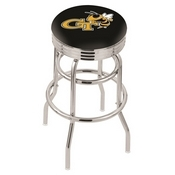 L7C3C - Chrome Double Ring Georgia Tech Swivel Bar Stool with 2.5 Ribbed Accent Ring by Holland Bar Stool Company