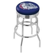 L7C3C - Chrome Double Ring Gonzaga Swivel Bar Stool with 2.5 Ribbed Accent Ring by Holland Bar Stool Company