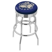 L7C3C - Chrome Double Ring Georgetown Swivel Bar Stool with 2.5 Ribbed Accent Ring by Holland Bar Stool Company