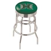 L7C3C - Chrome Double Ring Hawaii Swivel Bar Stool with 2.5 Ribbed Accent Ring by Holland Bar Stool Company