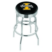 L7C3C - Chrome Double Ring Idaho Swivel Bar Stool with 2.5 Ribbed Accent Ring by Holland Bar Stool Company
