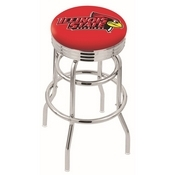 L7C3C - Chrome Double Ring Illinois State Swivel Bar Stool with 2.5 Ribbed Accent Ring by Holland Bar Stool Company