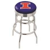 L7C3C - Chrome Double Ring Illinois Swivel Bar Stool with 2.5 Ribbed Accent Ring by Holland Bar Stool Company
