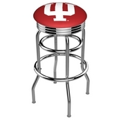 L7C3C - Chrome Double Ring Indiana Swivel Bar Stool with 2.5 Ribbed Accent Ring by Holland Bar Stool Company
