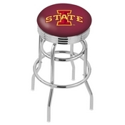 L7C3C - Chrome Double Ring Iowa State Swivel Bar Stool with 2.5 Ribbed Accent Ring by Holland Bar Stool Company