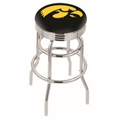 L7C3C - Chrome Double Ring Iowa Swivel Bar Stool with 2.5 Ribbed Accent Ring by Holland Bar Stool Company