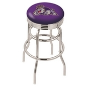 L7C3C - Chrome Double Ring James Madison Swivel Bar Stool with 2.5 Ribbed Accent Ring by Holland Bar Stool Company