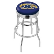 L7C3C - Chrome Double Ring Kent State Swivel Bar Stool with 2.5 Ribbed Accent Ring by Holland Bar Stool Company