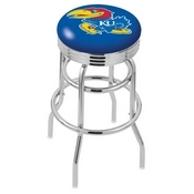 L7C3C - Chrome Double Ring Kansas Swivel Bar Stool with 2.5 Ribbed Accent Ring by Holland Bar Stool Company